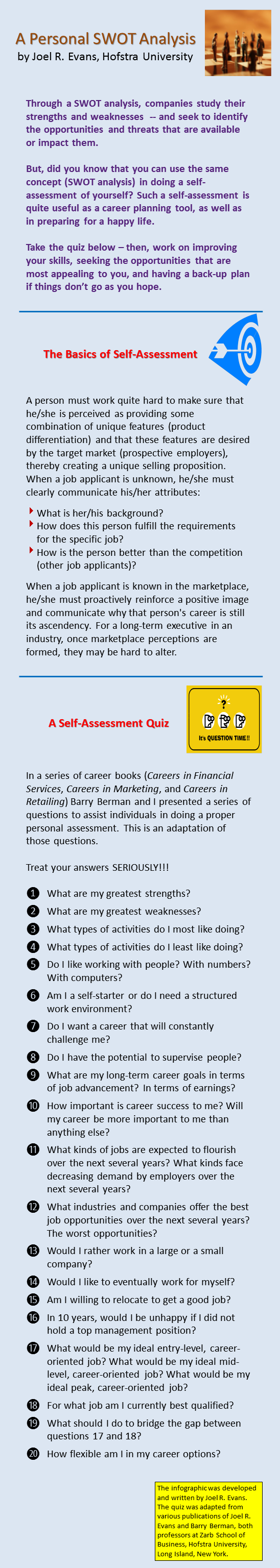 a personalized self assessment infographic evans on marketing